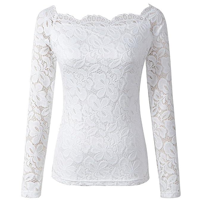 Camisetas Mujer Encaje Tops Manga Larga Originales Vintage Tallas Grandes Camisas Fiesta Elegantes Barco Cuello Slim