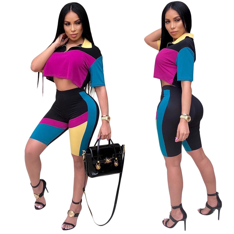 1f67c291d67a Amazon.com  Mycherish Women Color Block Crop Top 2 Piece Bodycon Set Casual  Outfit Tracksuit  Clothing