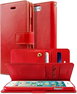 Goospery Mansoor Wallet for Apple iPhone 8 Plus Case (2017) iPhone 7 Plus Case (2016) Double Sided Card Holder Flip Cover (Red) IP7P-MAN-RED