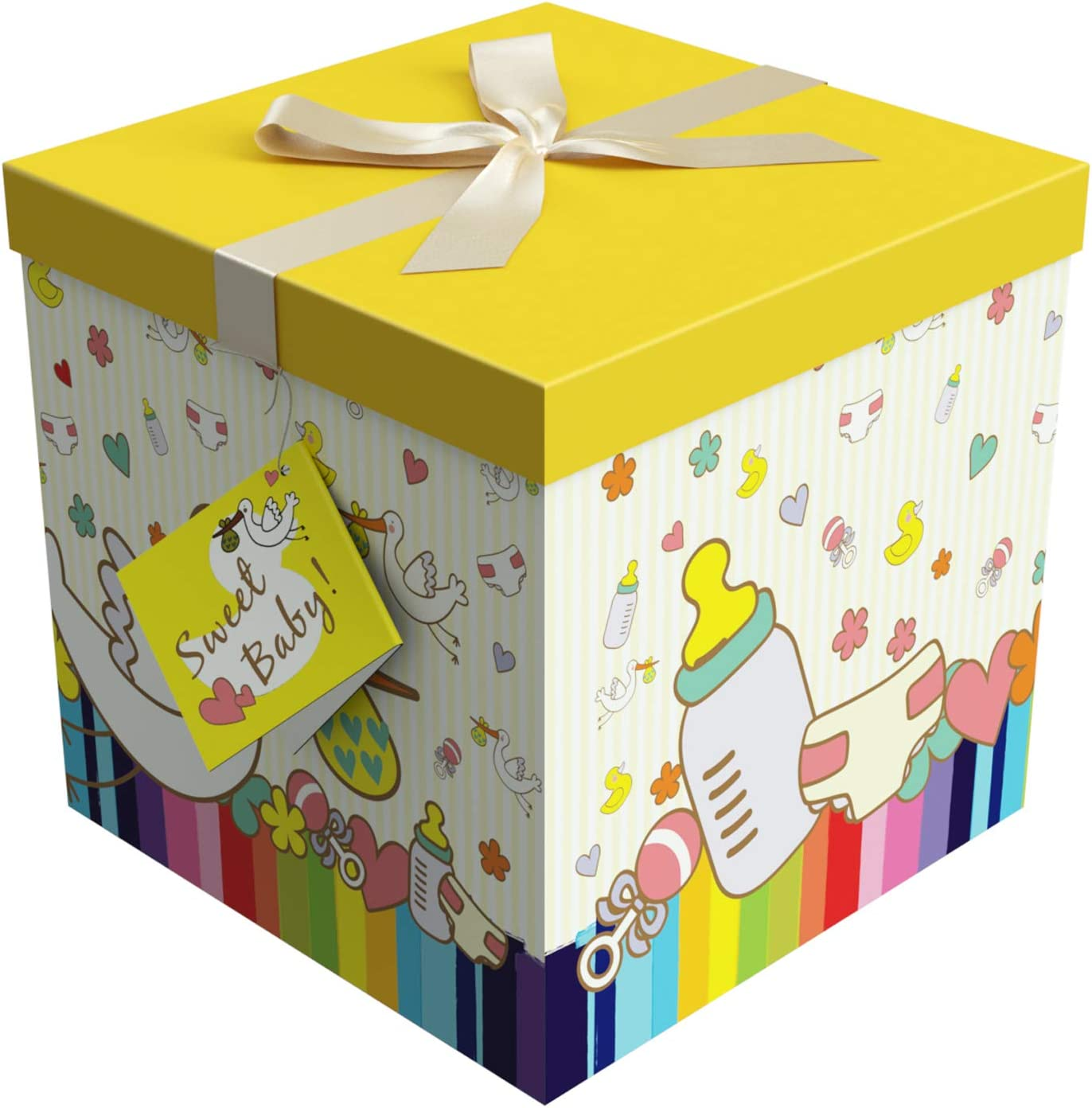Gift Box 9x9x9 Petit Bebe Collection - Easy to Assemble & Reusable - No Glue Required - Ribbon, Tissue Paper, and Gift Tag Included - EZ Gift Box by Endless Art US