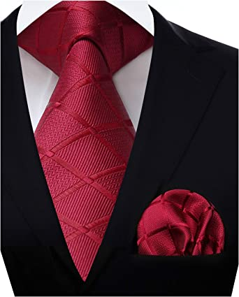 HISDERN Panuelo de corbata roja borgona para hombre Conjunto ...