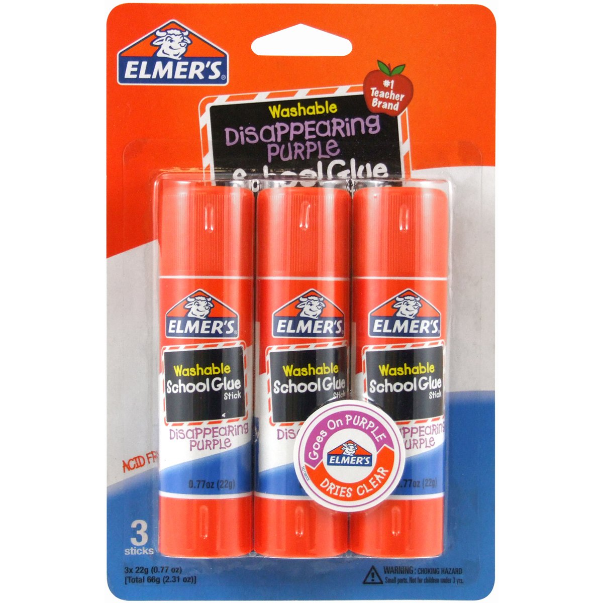 Elmer's Disappearing Purple School Glue Sticks, 0.77 oz Each, 3 Sticks per Pack (E562) Elmers