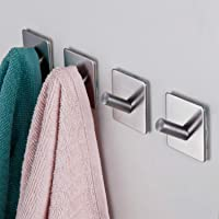3M Adhesive Hooks, Rope Towel Hanger with Stainless Steel Super Powerful Stick On Hooks for Home, Kitchen, Bathroom, Heavy Duty Wall Mount Coat Hanging Rack - (4 Pack) (Heavy Duty Wall Hooks- 4packs)