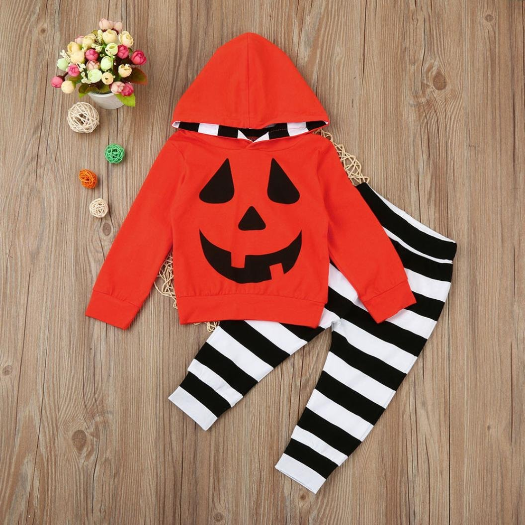 Kword Halloween Infantile Due Pezzi Set,Bambino Neonato Ragazze Ragazzi Zucca Hooded Camicetta Stripe Pantaloni Abiti Set per Halloween Party