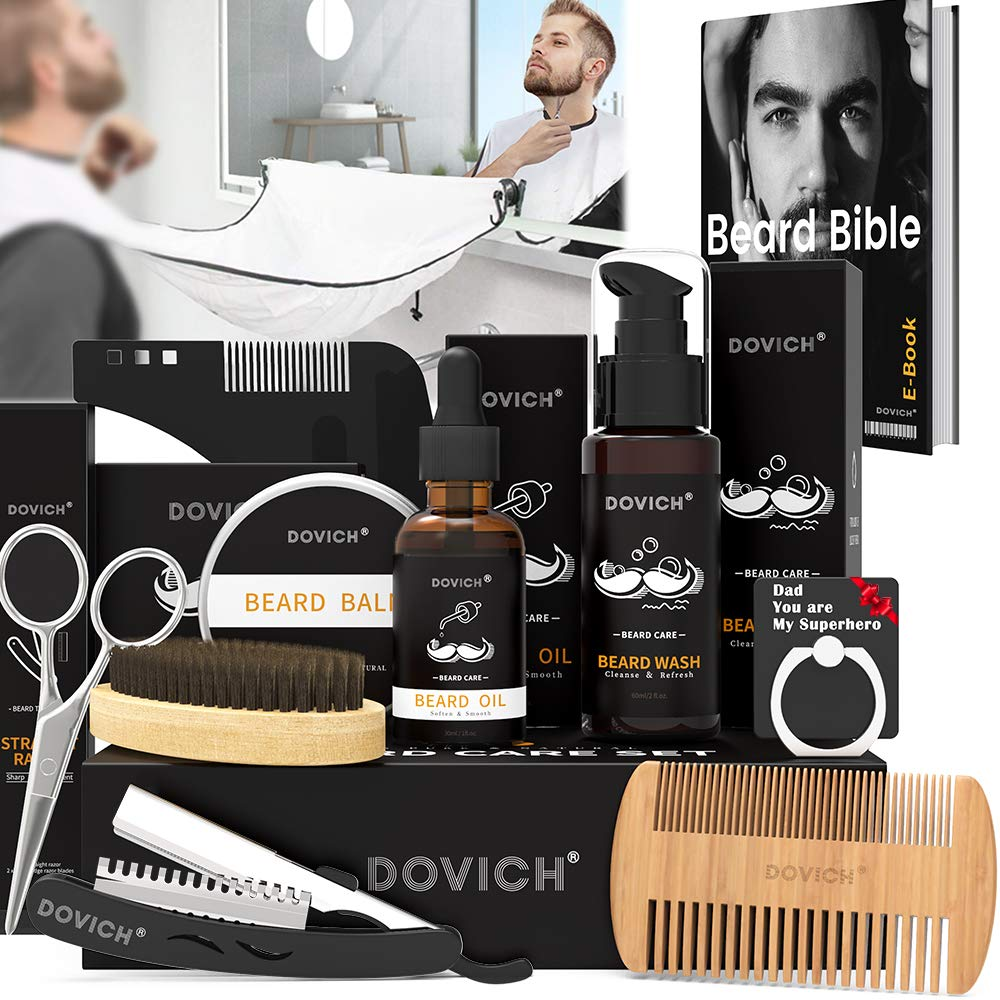 12 In 1 Beard Grooming Care Kit For Men  Dovich 100  Natural Beard Oil Leave-in Conditioner Beard Apron Bib Beard Razor Beard Shampoo  Beard Balm  Beard Brush  Styling Comb