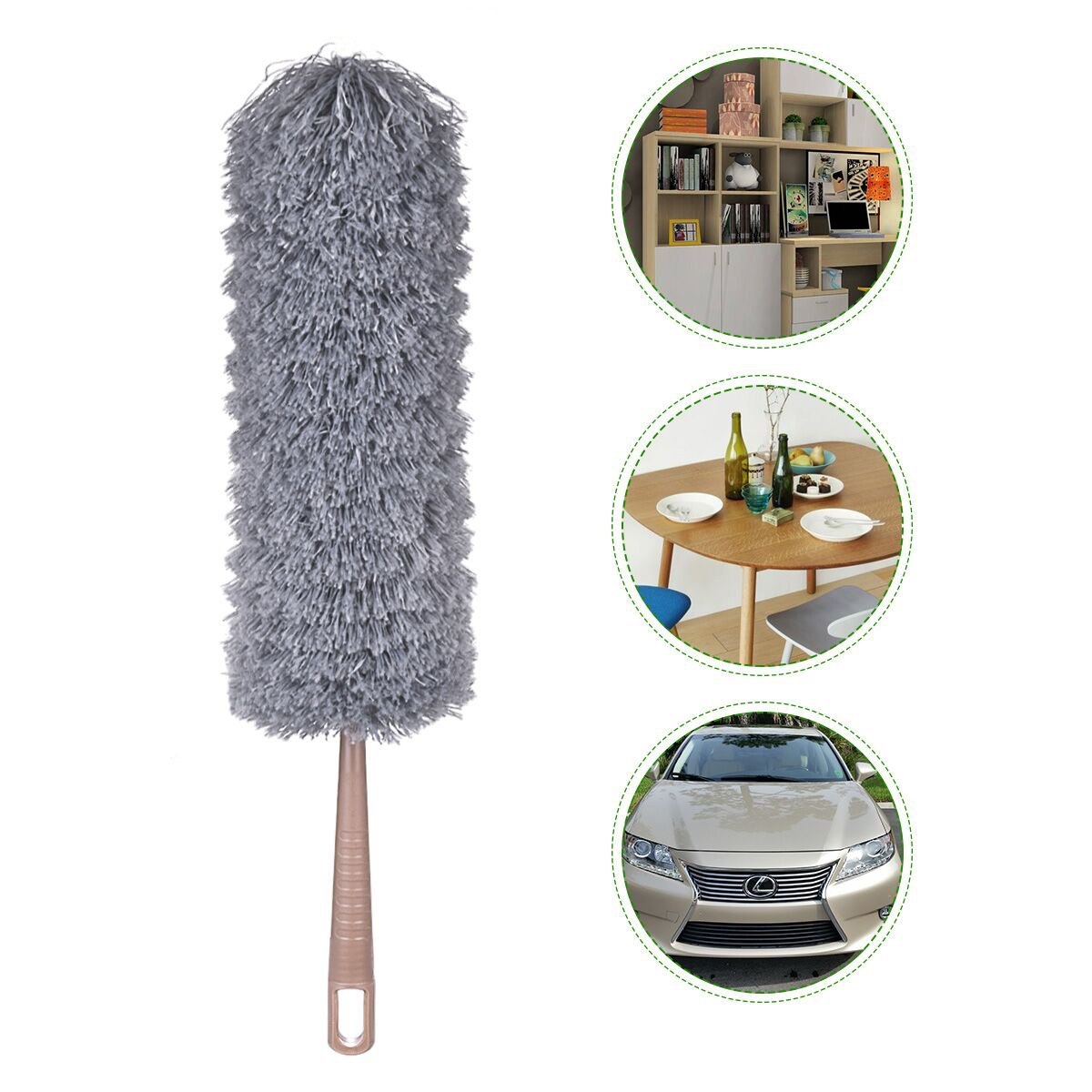 Microfiber Duster - Feather Duster Very Lightweight and Flexible - Can be Cleaned - Velvet-Free Cloth, Suitable for Ceiling Fans, Cathedral Ceilings, TVs and Bookshelves