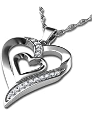 "DEPHINI - Heart Necklace - 925 Sterling Silver - Double Love Heart Pendant with CZ Crystals - Fine Jewellery Woman Necklace - 18"" Rhodium Plated Silver Chain - A+ Cubic Zirconia - Gifts for Women"