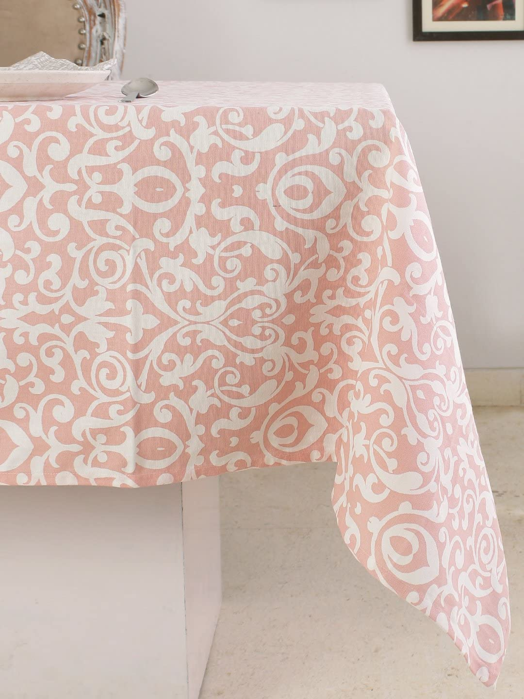 """Plush Home 100% Cotton Eco - Friendly Baroque - Pink Printed Rectangular Tablecloth for Home, Table, Family Dinners, Thanksgiving, Christmas, Weddings & Cocktail Parties 