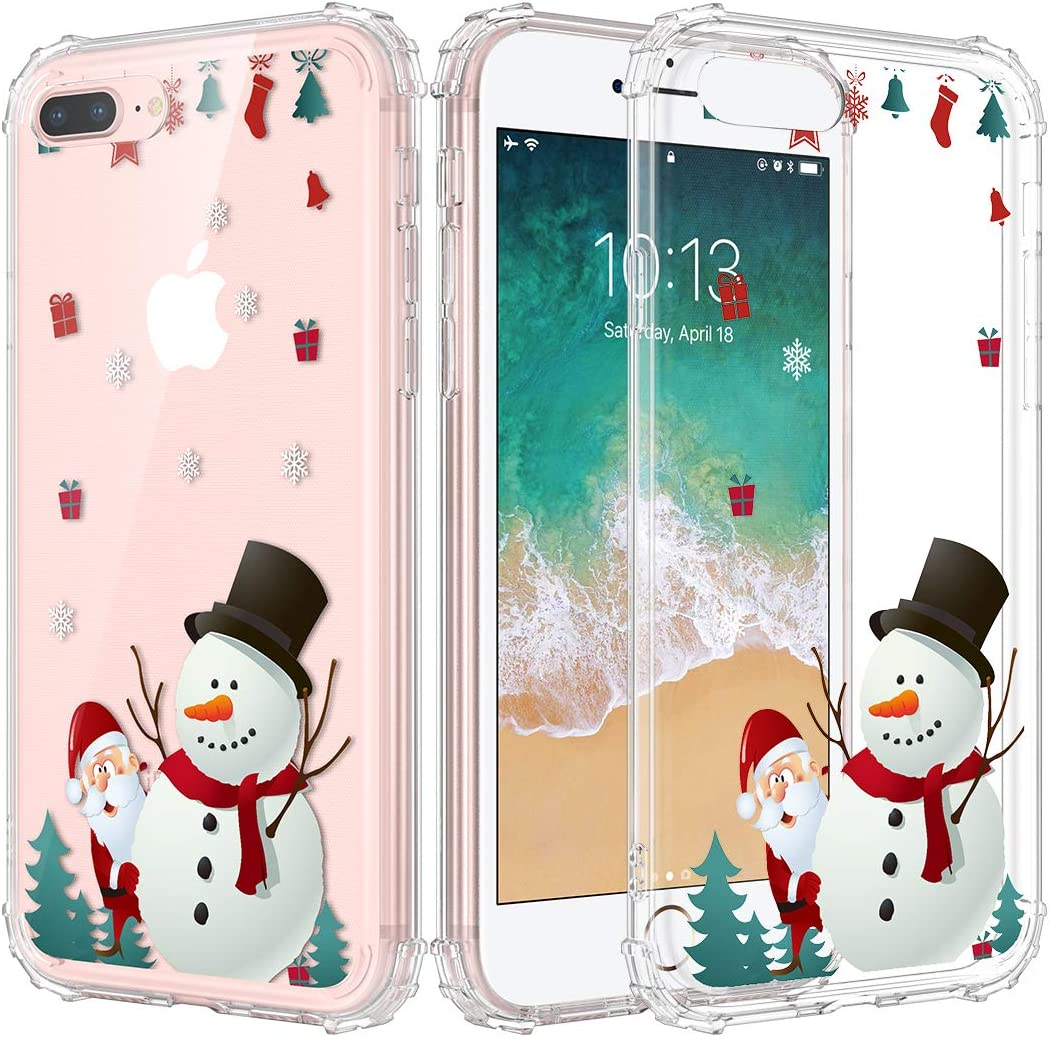 Caka Christmas Case for iPhone 7 Plus, iPhone 8 Plus Clear Case with Christmas Design for Girls Women Girly Cute Slim Soft Premium TPU Case for iPhone 6 Plus 6s Plus 7 Plus 8 Plus (Snowman)