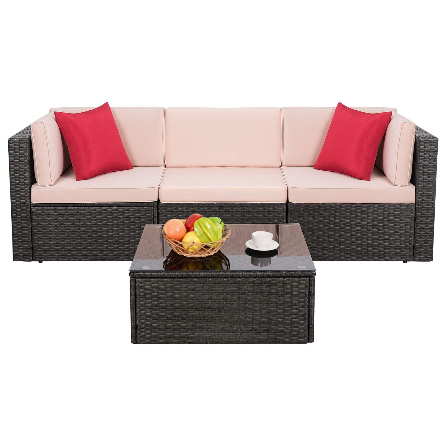 Image modern wicker patio furniture Cushions Homall Outdoor Furniture Sectional Safa Modern Wicker Sets With Cushion All Weather Rattan Conversation Set With Modern Glass Coffee Table For Patio Velago Patio Furniture Amazoncom Homall Outdoor Furniture Sectional Safa Modern Wicker