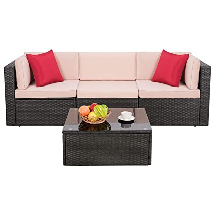 Amazon Com Homall Outdoor Furniture Sectional Sofa Modern Wicker