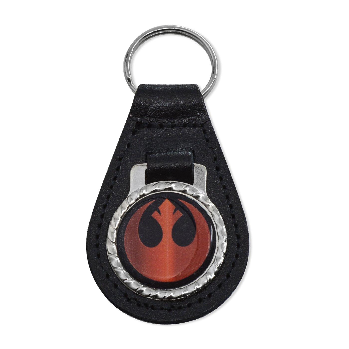 3 Tall EF-ACC-K-00009 EvolveFISH Rebel Alliance Black Leather Keychain Fob