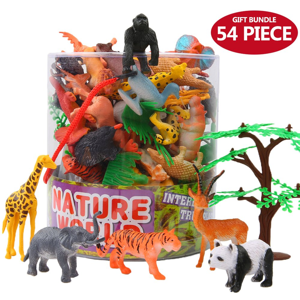 Animals Figure, 54 Piece Mini Jungle Animals Toys Set With Gift Box, ValeforToy Realistic Wild Animal Learning Party Favors Toys For Boys Girls Kids Toddlers Forest Small Farm Animals Toys Playset