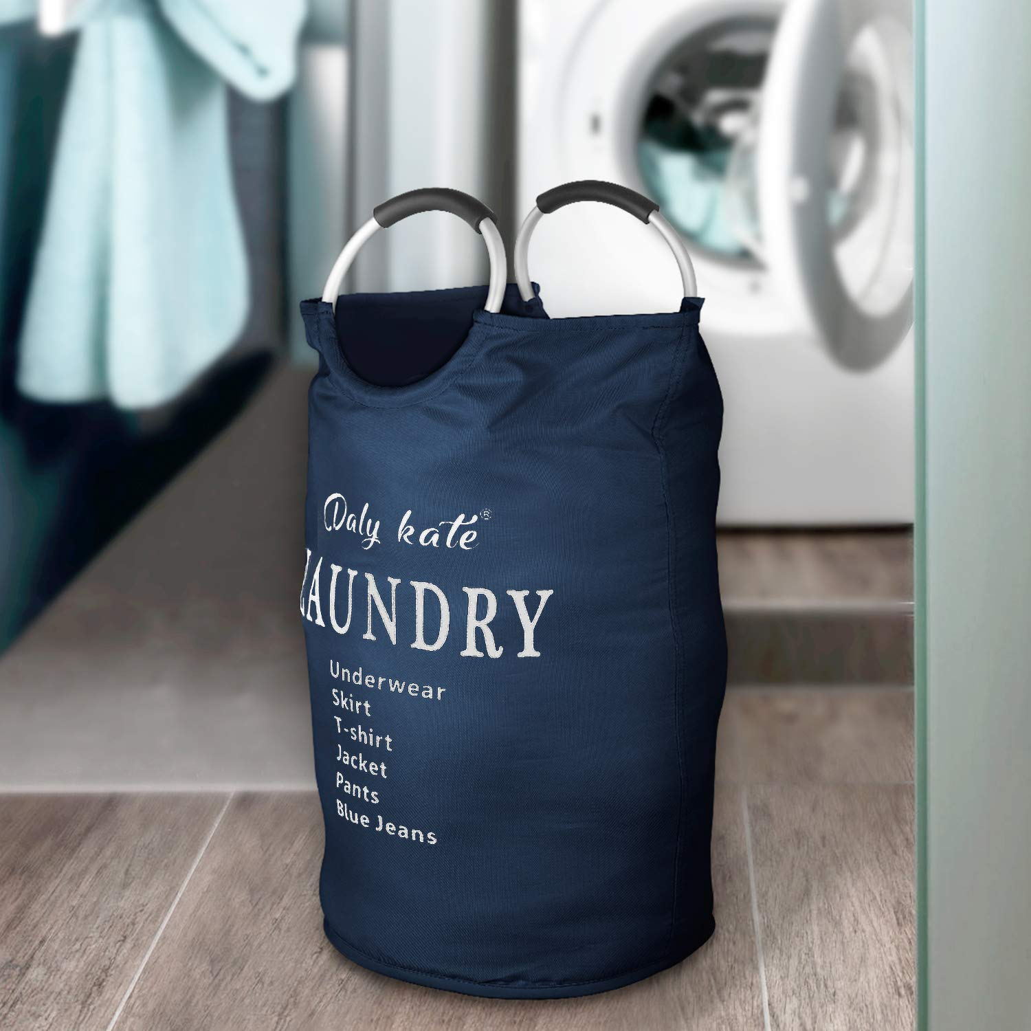 Daly Kate Large Laundry Bag Collapsible Oxford Fabric Laundry Hamper Bag with Aluminium Handles Foldable Tote Clothes Basket for Laundry and Storage-Dark Blue