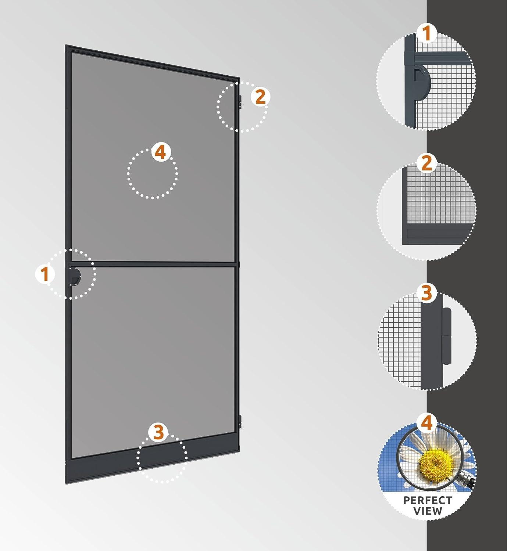 100 x 210 cm Windhager Insektenschutz Spannrahmen-T/ür Expert Fliegengitter Alurahmen f/ür T/üren 03902 wei/ß individuell k/ürzbar