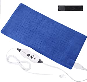 "Tech Love Electric Heating Pad with Auto Shut Off Electric Moist Heated Therapy for Neck Shoulder and Back Pain Relief Extra Large 12"" x 24"" - Blue"