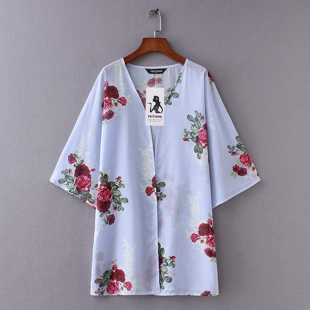 LISTHA Women Chiffon Floral Kimono Cardigan Loose Shawl Tops Cover up Blouse Summer