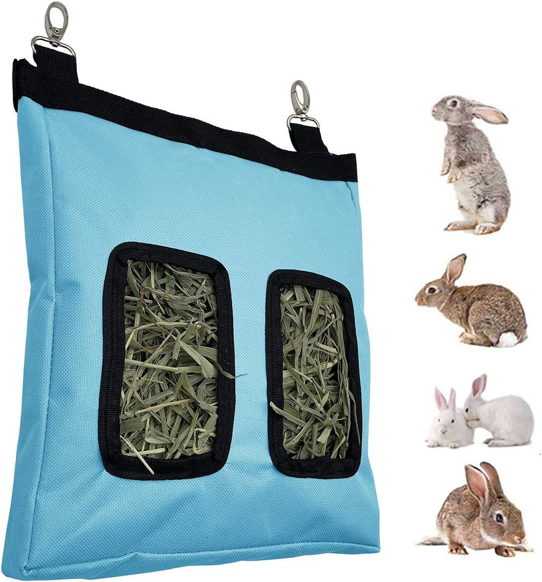 Rabbit Feeder Bunny Guinea Pig Hay Feeder Bag,Hay Guinea Pig Hay Feeder, Rabbit Feeder Fabric Bag Chinchilla Plastic Food Bowl Feeder Storage Bag (Blue)
