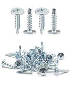 "IMScrews 50pcs #8 x 3/4"" Self Drilling Truss Head Screws Standard Thread Wood Work MDF Zinc"