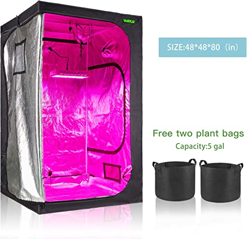 Vanerdun Plant Growing Tent Free Two Plant Bags – 48 X 48 X 80 Mylar Reflective Grow Tent for Indoor Hydroponic Growing System with Observation Window and Floor Tray for Indoor Plant Growing 4 4