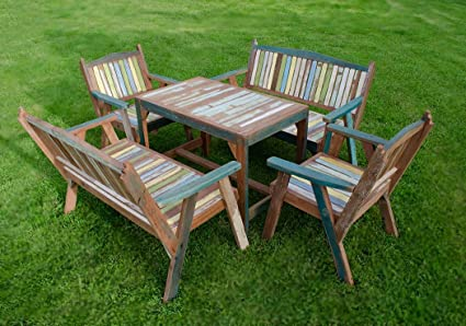 Rustic Reclaimed Wooden Garden Furniture Set Seat 6 All Include