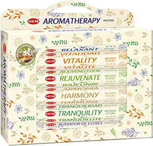 HEM Aromatherapy Gift Set Incense Sticks - Pack of 6 (20 Sticks Each) for Cleansing and Meditation