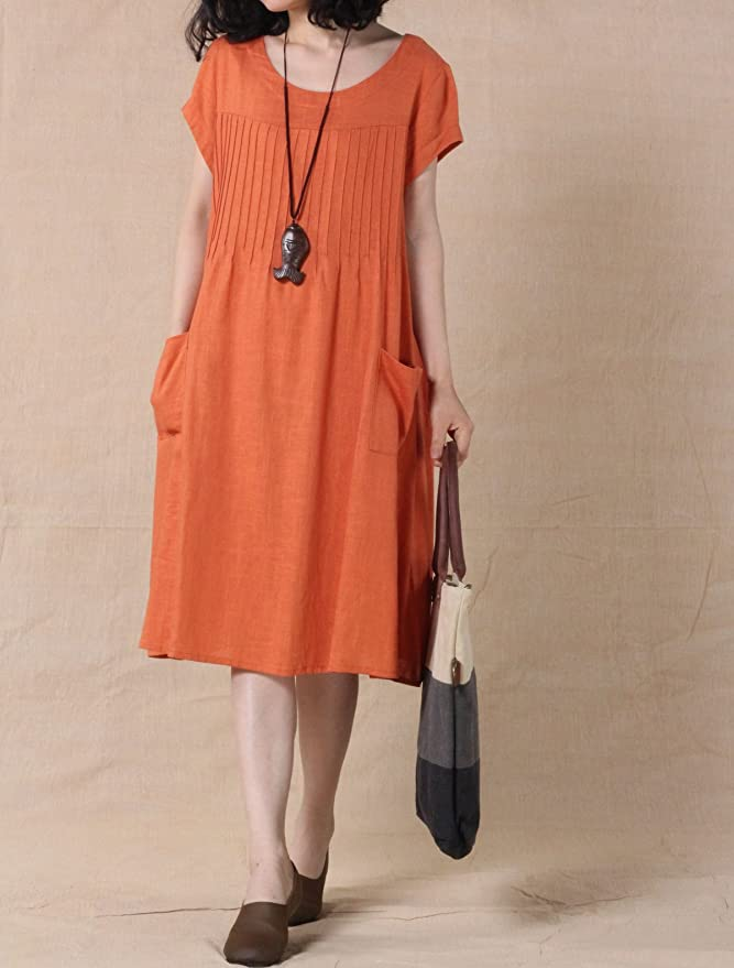 Old Fashioned Dresses | Old Dress Styles Mordenmiss Womens Cotton Linen Tunic Dress Pleated Short Sleeve Sundresses Summer Daily Pullover with Pockets $35.00 AT vintagedancer.com