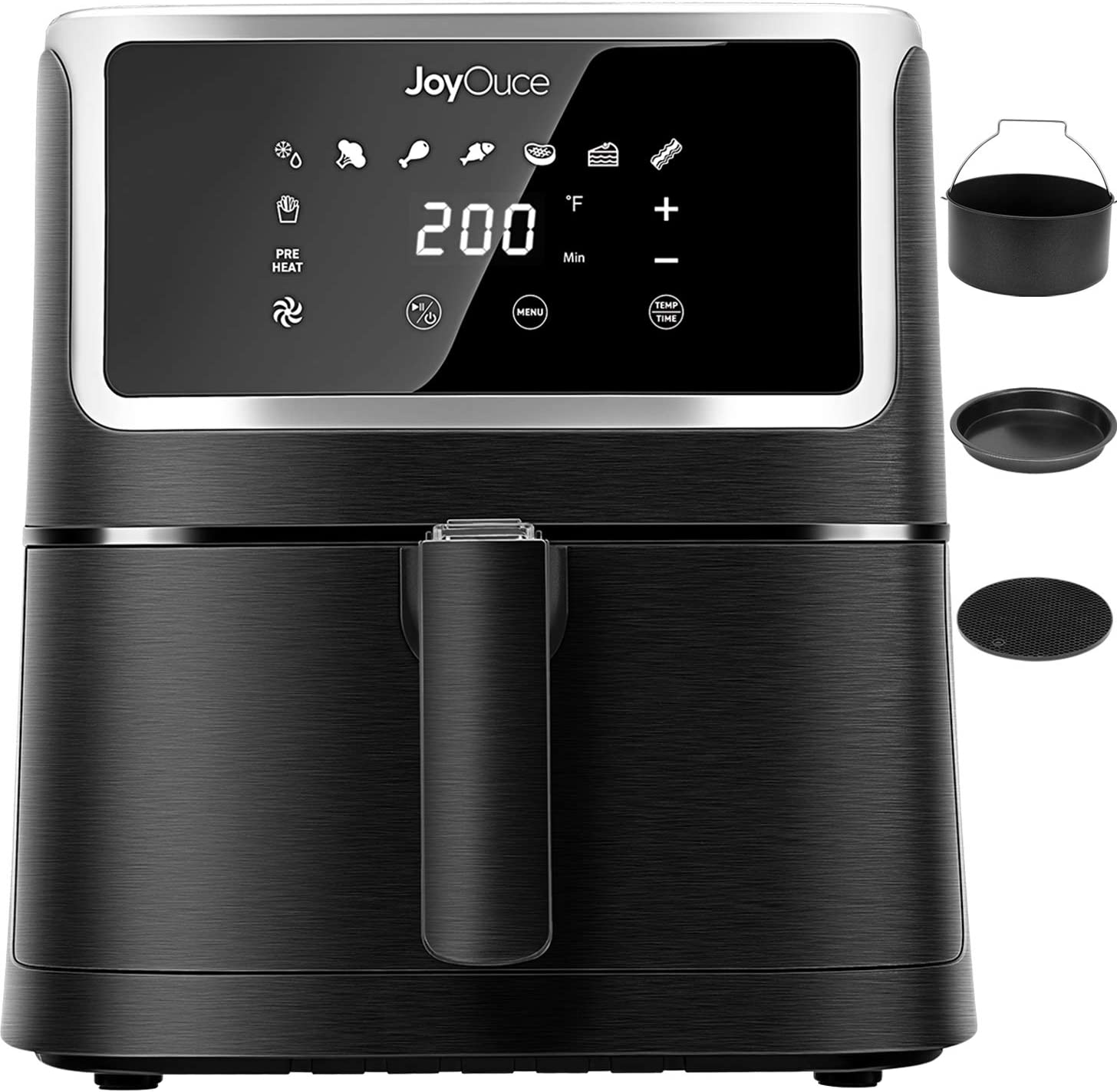 JOYOUCE Air Fryer XL with 3 Extra Air Fryer Accessories,5.8 QT Large Air Fryer Oven Smart Touch Screen with 8 Presets Air Fryer Combo for Roast/Bake/Grilling Power 1700W