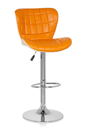 Tresenhocker Höhenverstellbar hjh office 685979 2er set retro barhocker lounger kunstleder orange