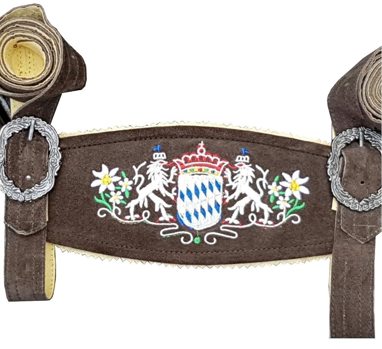 Trachten Hosenträger mit bayrischemWappen für Ihre Lederhose Gr.110-130 cm