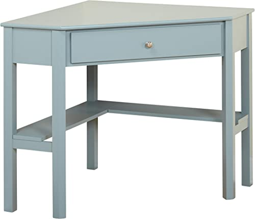TMS Ellen Modern 1 Drawer Corner Desk, 42 W, Antique Blue
