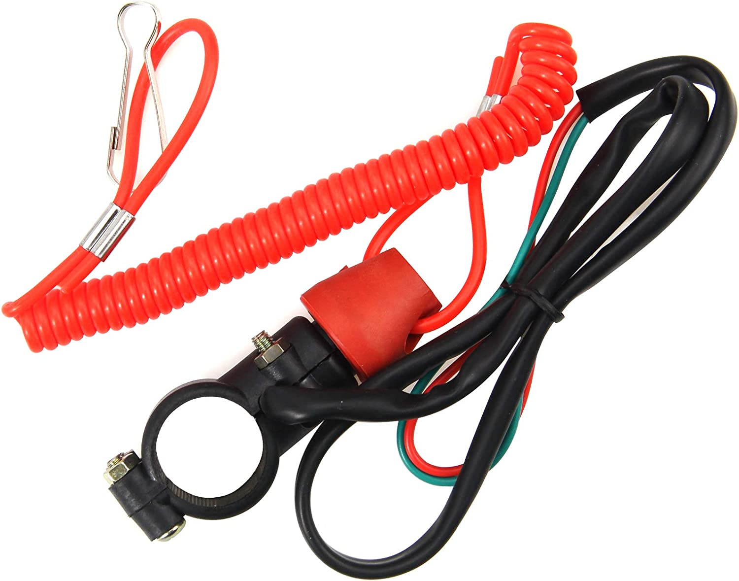 Motorcycle ATV Outboard Engine Kill Stop Switch w// Tether Cord Lanyard