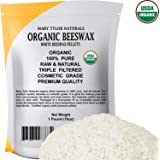 White Beeswax Pellets (1 lb), Certified Organic by Mary Tylor Naturals, Premium Quality, Cosmetic Grade, Triple Filtered Past