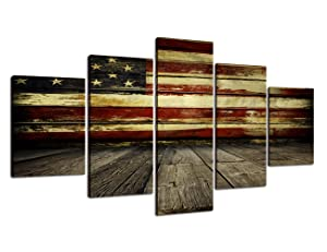 Wooden Flag Wall Pictures for Living Room Canvas Print Retro Vintage American Flag Modern Art Painting 5pcs Framed Posters and Prints Bedroom Giclee Print Gallery Wrap Artwork Stretched(60''W x 32''H)