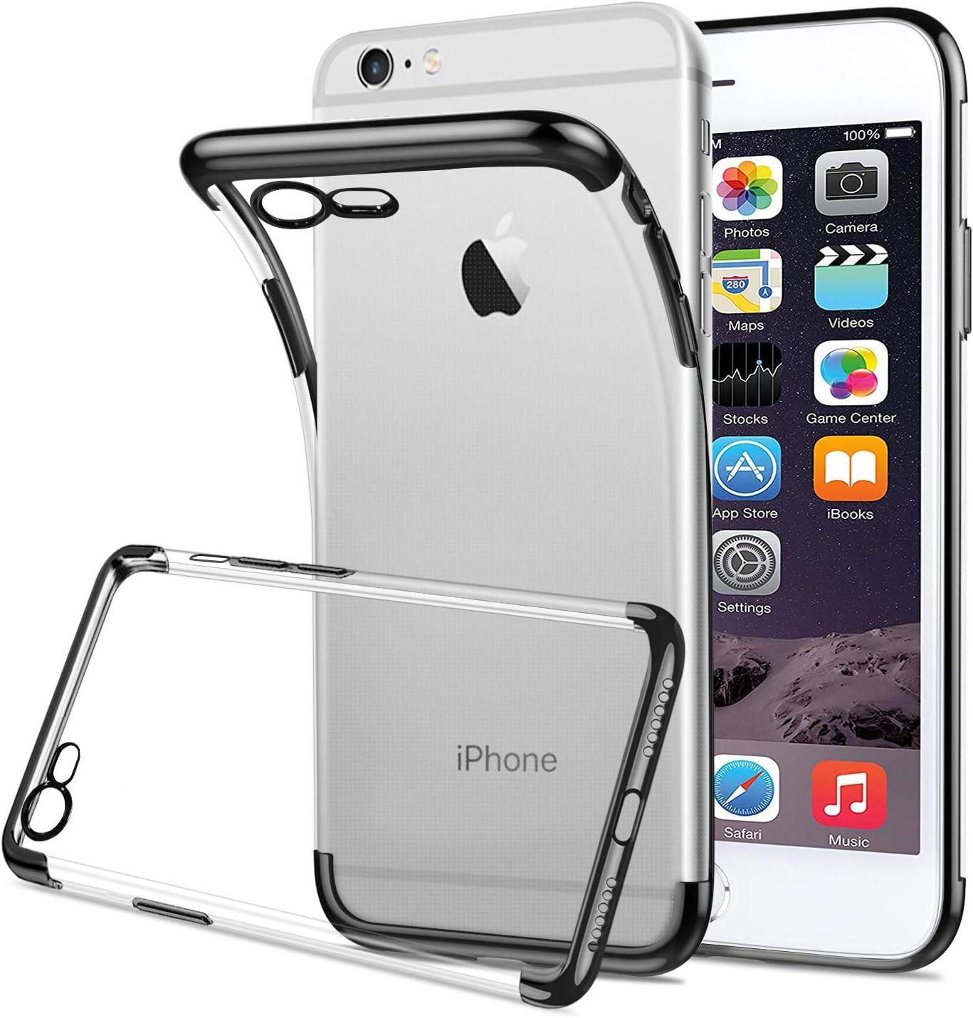 HOOMIL Kompatibel mit iPhone 6S//6 H/ülle Transparent Silikon Handyh/ülle f/ür Apple iPhone 6S//6 Durchsichtige Schutzh/ülle Schwarz Bumper