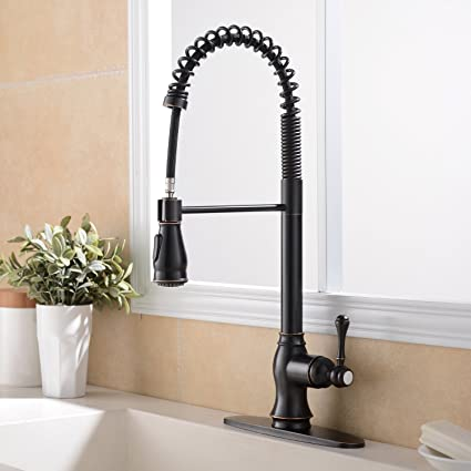 Ufaucet Antique Single Handle High Arch Pull Out Sprayer Oil Rubbed
