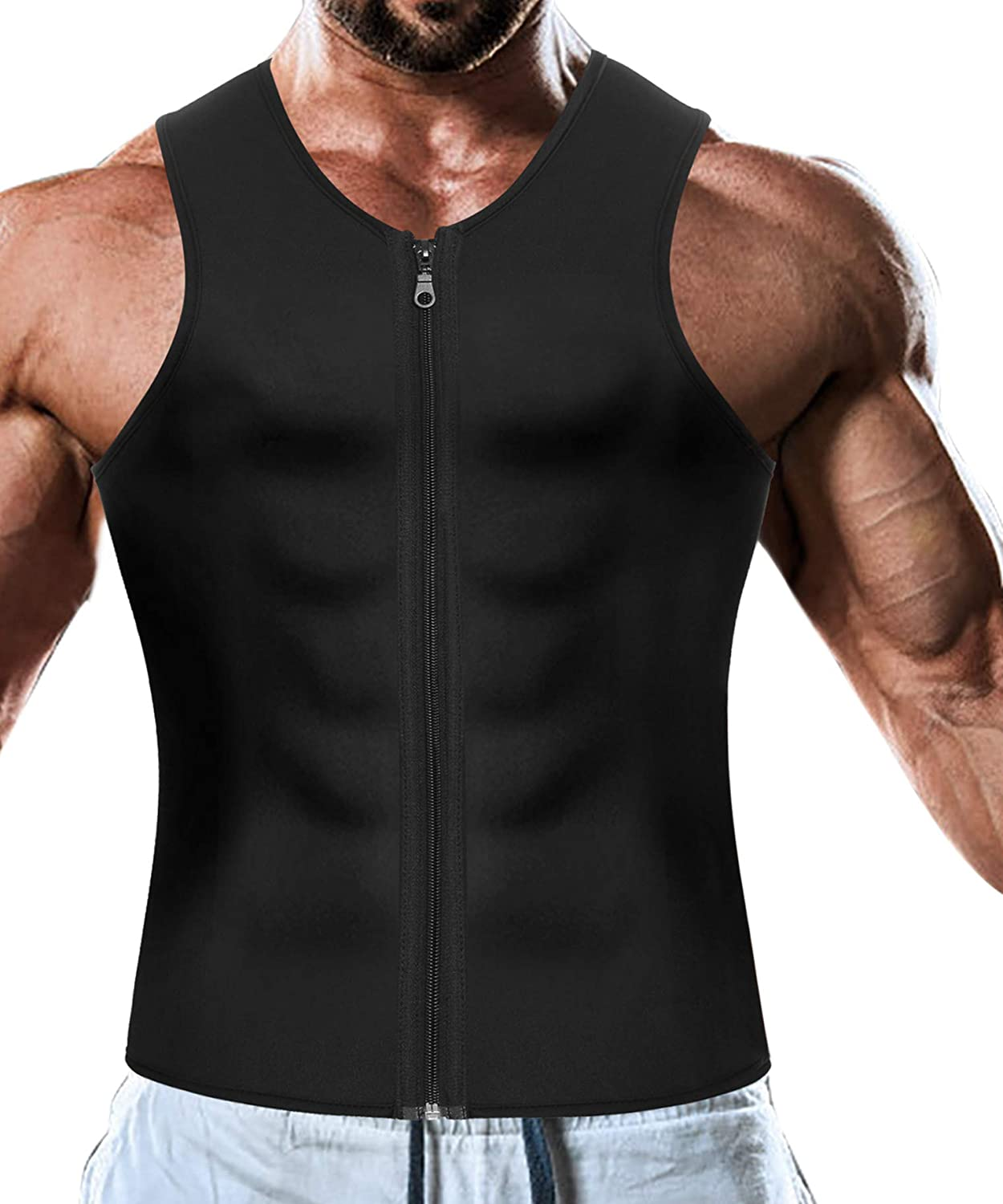 6b426171370 Men Waist Trainer Vest for Weight Loss Hot Neoprene Corset Body Shaper  Zipper Sauna Tank Top Workout Shirt  Amazon.co.uk  Clothing