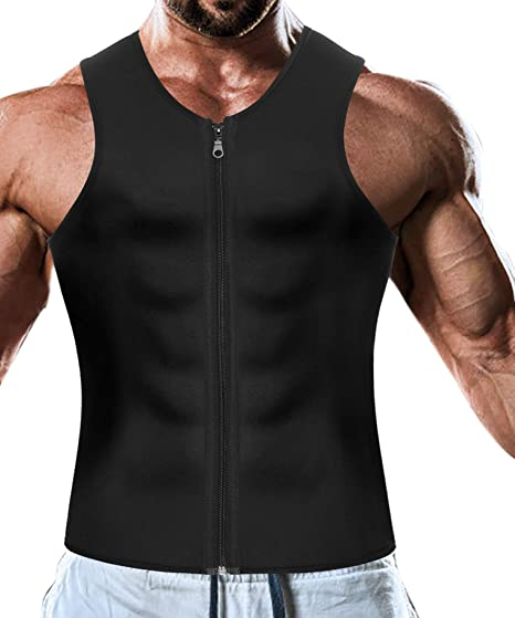 cab55ef789 Men Waist Trainer Vest for Weight Loss Hot Neoprene Corset Body Shaper  Zipper Sauna Tank Top Workout Shirt  Amazon.co.uk  Clothing