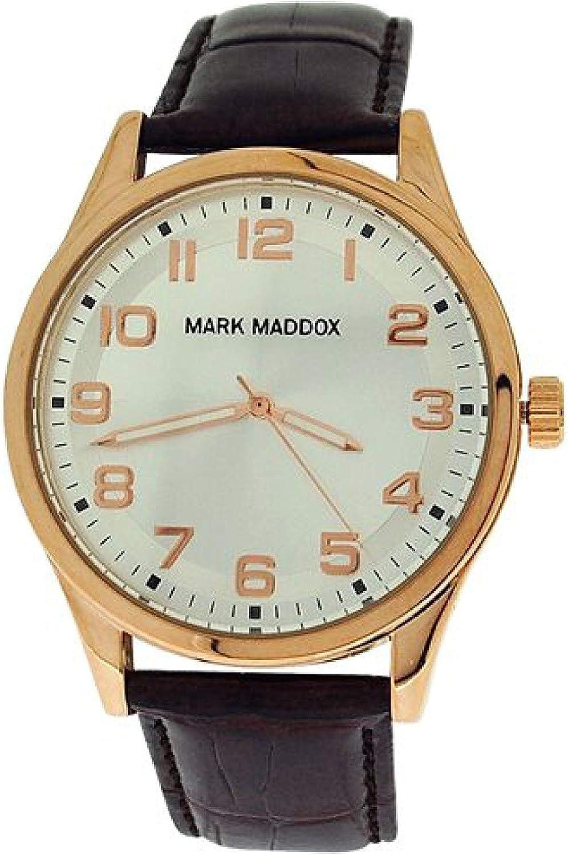 Mark Maddox Gents Silvertone Dial & Brown Croc Effect Strap Watch HC3005-95