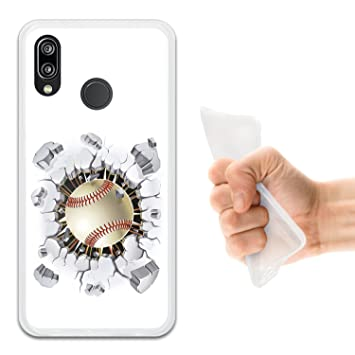 WoowCase Funda Huawei P20 Lite, [Huawei P20 Lite ] Funda Silicona Gel Flexible Pelota de Beisbol, Carcasa Case TPU Silicona - Transparente