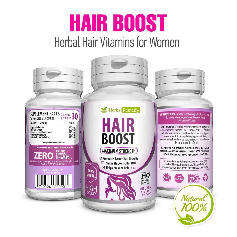 Hair Growth Vitamins >> Natural Boost Hair Growth Vitamins Healthier Thicker Longer Hair Regrowth Organic Damaged