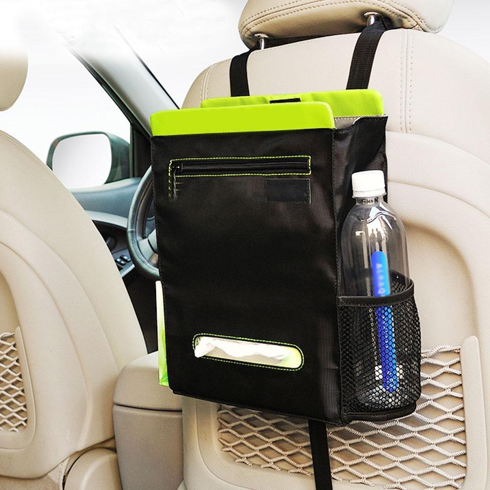 MQYH@ Car Seat Storage Bag Chair Back Bag Hanging Bag Collection Garbage Bag, Tissue Box Bag, Storage Bag Three Bag Integrated Seat Back multifunctional Storage Bag,Green