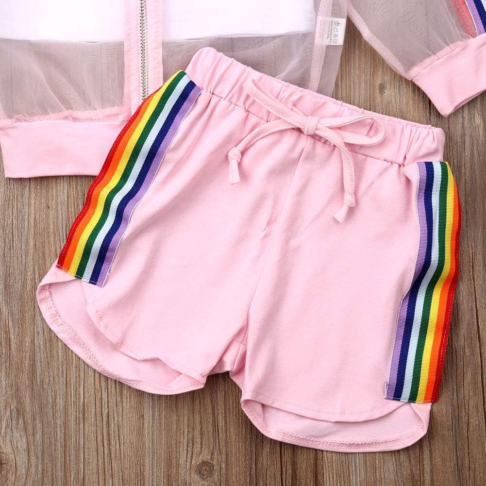 3Pcs Toddler Kid Baby Girl Rainbow Striped Mesh Sheer Zip Long Sleeve Tops Shorts Cami Top Set