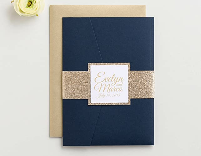 Amazon custom glitter pocket folder wedding invitation with custom glitter pocket folder wedding invitation with rsvp and envelopes evelyn sample stopboris Choice Image