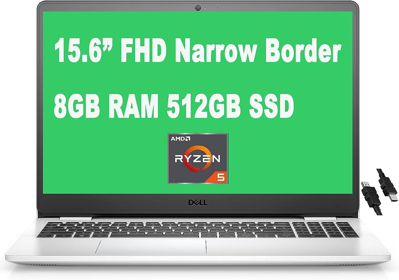 "2021 Flagship Dell Inspiron 15 3000 3505 Laptop 15.6"" FHD Narrow Border WVA Display AMD 4-Core Ryzen 5 3450U Processor 8GB RAM 512GB SSD MaxxAudio Win10 (Snow White) + iCarp HDMI Cable"