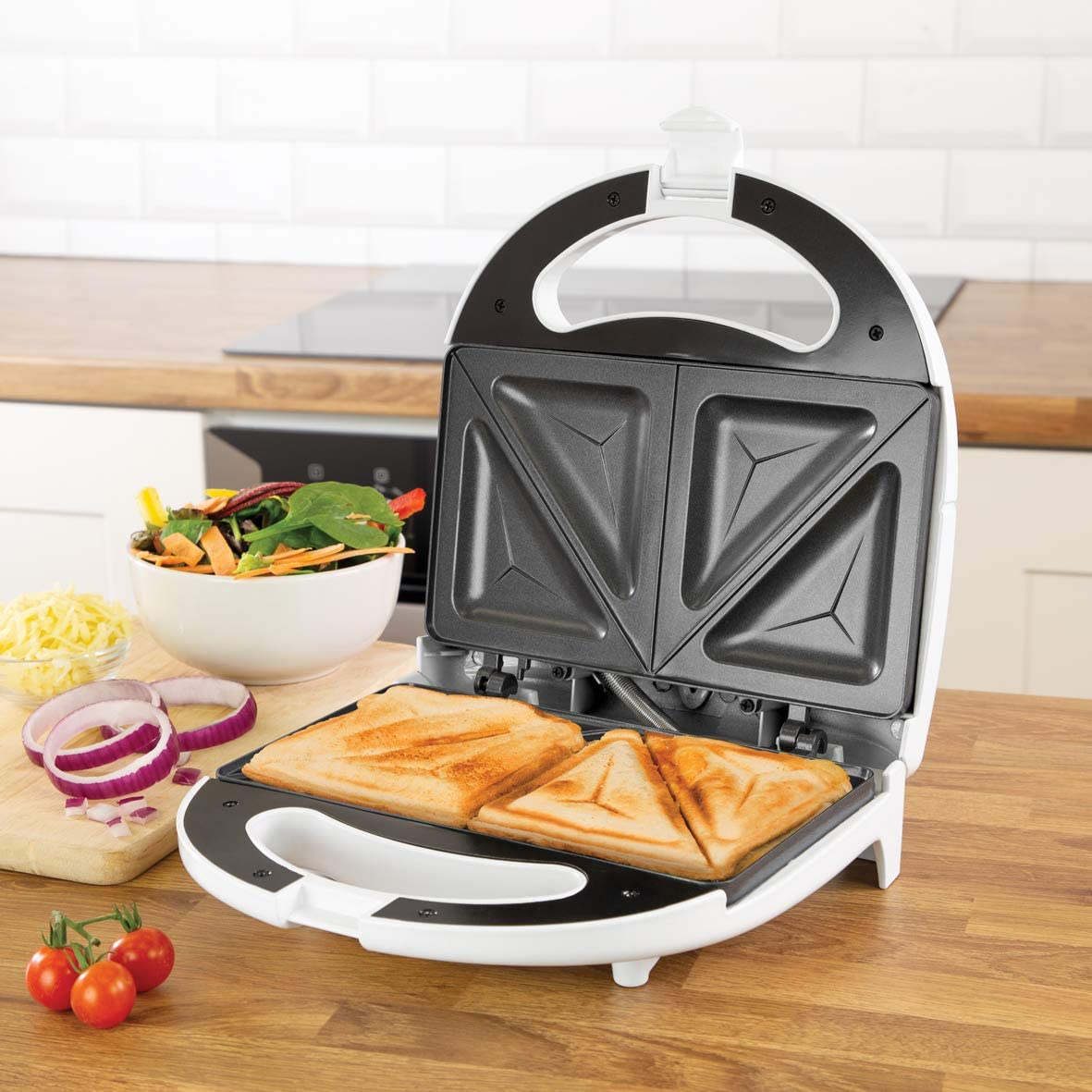 Quest 35129 Sandwich Toastie Maker | Black | 750W Stick Hot Plates | Non-Slip Rubber Feet | Cool Touch Handle, 750 W White