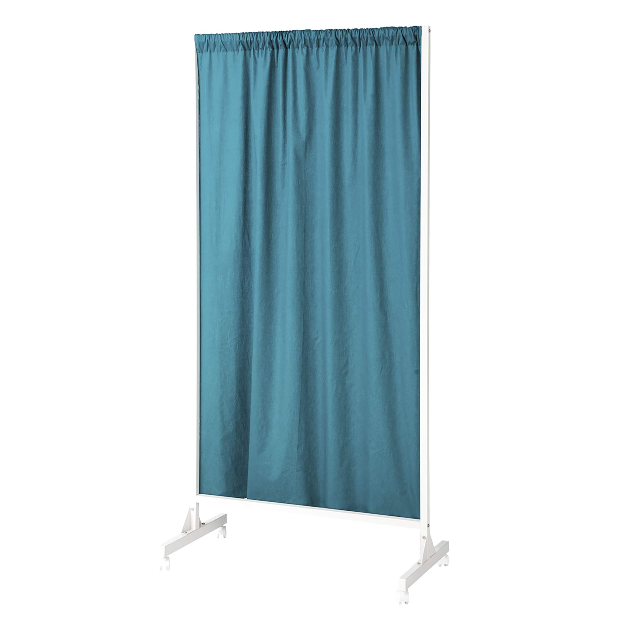 Don't Look at Me - Partial Room Divider - White Frame with Ocean Depths Teal Cotton Fabric