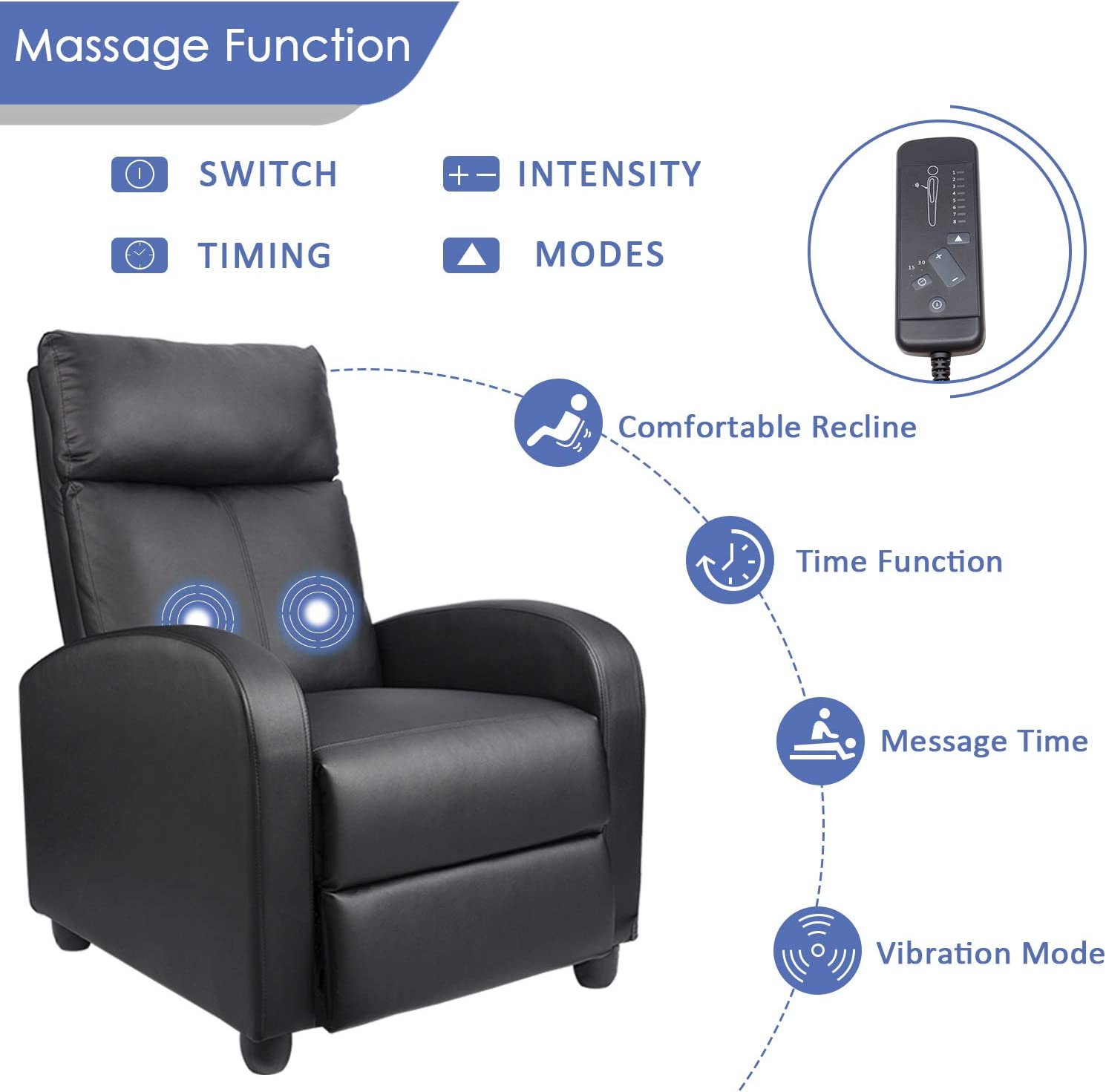 Homall Single Recliner Chair massage functions