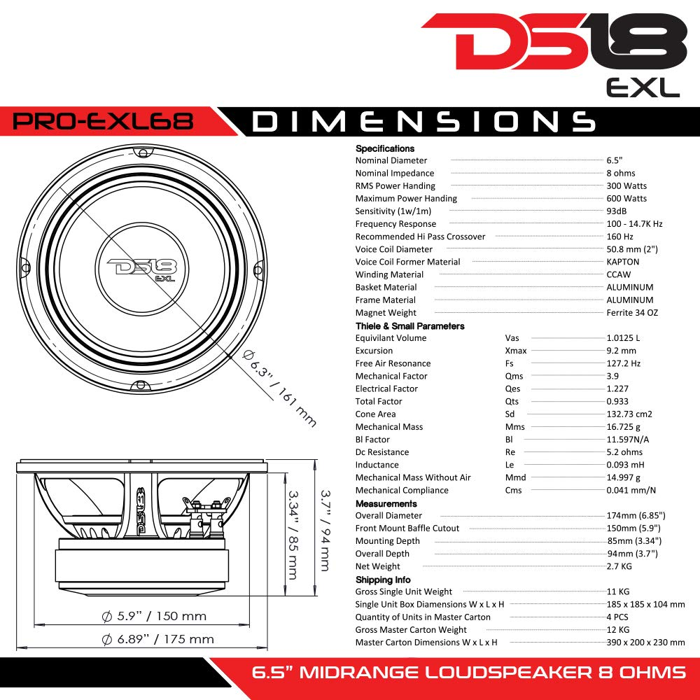 DS18 PRO-EXL68 Loudspeaker - 6.5'', Midrange, Red Aluminum Bullet, 600W Max, 300W RMS, 8 Ohms, Ferrite Magnet - For the Peple Who Live and Breathe Car Audio (1 Speaker) by DS18 (Image #6)