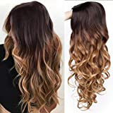 AISI QUEENS Ombre Wigs Long Curly Middle Part Wig 2 Tone Reddish Brown Wavy Wigs for Women Synthetic Heat Resistant…